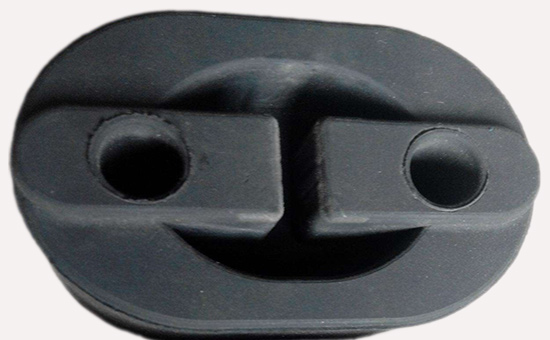 Production of automotive muffler lifting lugs with environmentally friendly EPDM reclaimed rubber